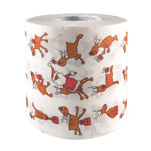 2019 25M Cute Christmas Santa Claus Reindeer Print Bath Toilet Paper Tissue Roll Jungle Party Xmas Decor Kitchen Accessories Paper Towels