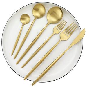 6pcs set European Dinnerware Set 18 10 Stainless Steel Dinner Set Knives Dessert Fork Spoon Tableware Set Kitchen Silverware Dishwasher Safe