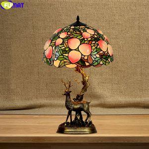 FUMAT Tiffany Style Desk Lamp Multi Colors Blent Glass Table Light Decorative Christmas Wapiti Elk Gift Lighting