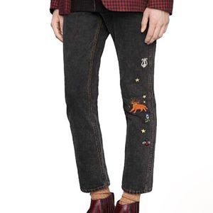 20SS Animal de hierba de flores bordado pantalones jeans de mezclilla negro recto hombres mujeres pareja de moda los pantalones casuales fresco Calle HFHLKZ044