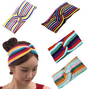 2020 Fashion Rainbow Striped Headband For Women Knit Elastic Hair Bands Girls Hair Accessories Opaska Haarband