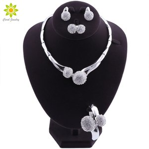 African Bridal Jewelry Sets Silver Plated Women Wedding Party Jewelry Set Crystal Statement Choker Necklace Earrings Set MX200528