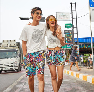 Couple 3D Printing Beach Pants Mens Womens Loose Quck Drying Seaside Holiday Pant Man Knee Length Shorts Swimwear