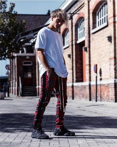 Pantaloni Moda Controllare Stampa Slim multi tasche coulisse Homme Pantaloni Uomo di Hip Hop pantaloni Teisure gamba dei pantaloni Zipper Mens Designer