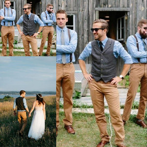 Vintage Country Farm Wedding Grey Wool Herringbone Tweed Chalecos Hecho a medida El novio Chaleco Slim Fit Mens Traje Chaleco Vestido de chaleco