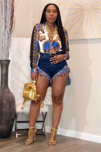 Горячая осень женщин красочные Африканский стиль печатных кнопка вниз с длинными рукавами глубокий V-образным вырезом воротником рубашки блузки топы