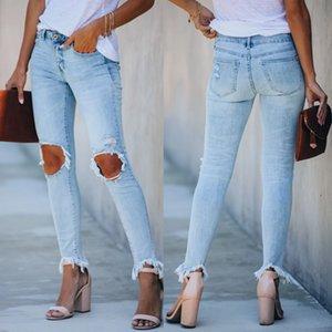 Wepbel Hole Jeans Women Plus Size Street Trendy Low Waist Wasit Denim Pants Fringe Leggings Trousers Summer Blue Mom Jeans