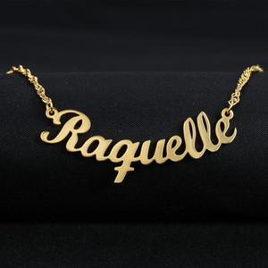 Personalizado Nombre de la fuente Collar con colgantes de encargo personalizada de escritura a mano Placa de nombre colgantes del eslabón de la cadena de joyería regalo de las mujeres