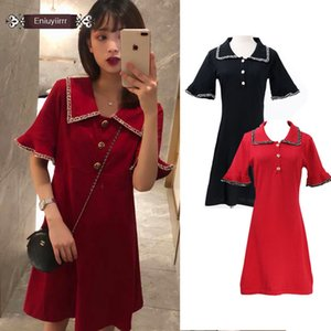 Cute Mini Dresses Party Date Wear Summer Flare Sleeve Patchwork Button Casual Little Black Red Dress Japan Korea Style Women