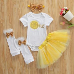 0-12M Newborn Girls 4pcs Set Newborn Baby Girls Romper+ Floral Shorts Dress+Leg Socks Baby Clothes Set