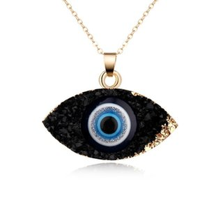 Simple Evil Eye Pendant Necklace Women Resin Handmade Clavicel Chains Necklaces for Female Christmas Imitation Natural Stone Necklace