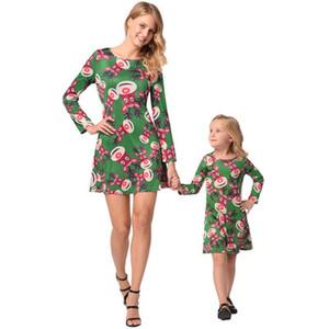 جديد الخريف الشتاء الأم والأسرة عني مطابقة تتسابق والدة ابنة عيد الميلاد الأيل الطباعة كاملة طويلة الأكمام ثوب 3colors WD951108