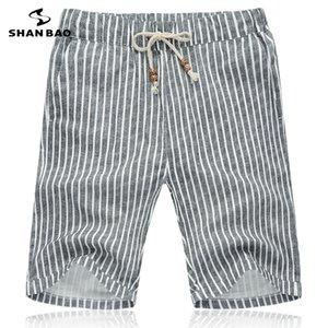 SHAN BAO respirant short en coton 2019 vêtements de marque été short mode rayé gris de Taille Homme