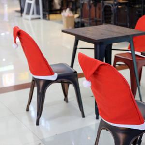 Christmas Sed Chair Copertura Santa Clausola Red Hat Sedia Indietro Covers Dinner Chair Cap Set per Natale Xmas Home Decorazioni per festeggiamenti New Ea13
