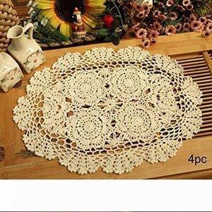 A Crochet Cotton Lace Placemats Doilies 4pc, Oval, Beige, 12 x 17 inch