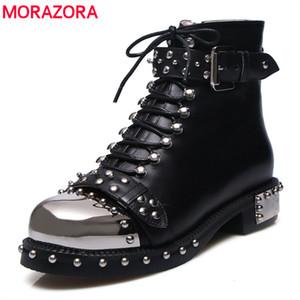 MORAZORA 2019 rebites do punk Ankle Boots mulheres outono inverno genuína botas de couro femininos sapatos da motocicleta de alta qualidade