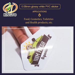 Alimentos brilhante Branco BOPP PP PVC adesiva congelado Sticker Labels