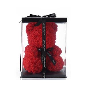 2020 Creative romantique mignon solide Bear Rose Fleurs avec boîte-cadeau décoration de mariage cadeaux d'anniversaire Saint-Valentin pour Girlfriend