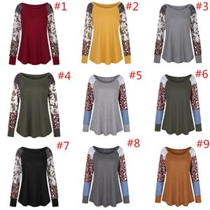 Leopard Patchwork T Shirt Long Sleeve O-neck T-shirt Spring Pullover Causal Loose Blouse Shirts Girls Top Clothing