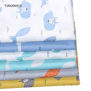 TIANXINYUE 6 PC / porción de tela de sarga de algodón de dibujos animados de tela para acolchar remiendo del lecho del bebé de costura de tela de materiales