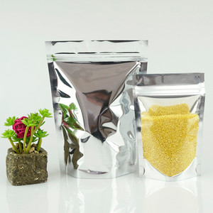 Commercio all'ingrosso Zip sacchetto di plastica, Stand Up traslucido del di alluminio a chiusura lampo Borse, 10x15cm / 100pcs anteriore trasparente Argento mylar Food Storage Pouch