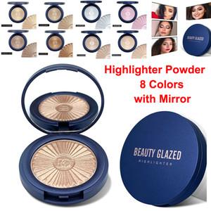 Beauty Glazed Makeup Face Highlighter Powder Contour Glow Metallic Bronzer Eyeshadow Palette Blush Skin Brighten Rose Gold Peach 8 Colors