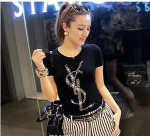 Sommer-Frauen-Designer-T-Shirts V8YSL Letters Diamant-Druck-Frauen-Kleidung Hülsen-Kurzschluss-stücke Womens Designer Kleidung