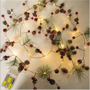 Рождественские огни светодиодные строки хвоя шишка медный провод свет Ins Рождественские огни украшения Рождественские колокола декоративный небольшой цв