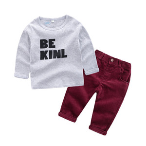 2019 Primavera Europa Neonati maschi vestiti lettera T-shirt in cotone + pantaloni di velluto a coste bambini ragazzo 2 pz abiti bambini abbigliamento vestito 14486