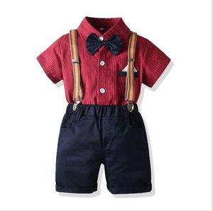 New gentleman's shirt suit boy's dress striped short sleeve Bow Tie Shirt strap pants birthday sui