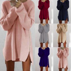 솔리드 컬러 패턴 여성 디자이너 스웨터 패션 슬리브 패널로 스웨터 크루 넥 여성 스웨터 캐주얼 여성 의류