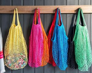 Bolsas de compras de frutas reutilizables String Grocery Shopper Cotton Tote Mesh Woven Net Bag