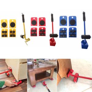 5pcs Furniture Mover Meubles Lifter Jeu d'outils lourds Stuffs Outil 4 roues mobiles Mover rouleau + 1 Bar Wheel main