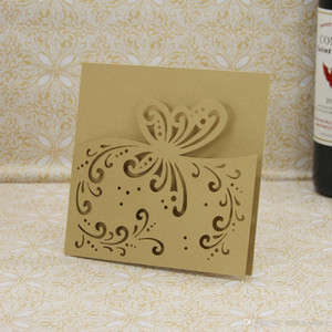 Laser Cut Wedding Invitations OEM in 41 Colors Customized Hollow With Butterflies Personalized Wedding Invitation Cards #BW-I0312