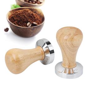 Food Grade кофе тампера 51мм 49мм с деревянной ручкой Бариста Espresso Maker Grinder Steel Handmade Coffee Maker Powder Flat Base