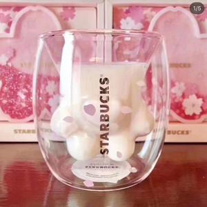Großhandel Starbucks Katzen-Tatzen-Becher Cat-Kralle Kaffeetasse 2019 Starbucks Begrenzte Eeition Cat Fuß Cup Sakura 6 Unzen Rosa Double Wall Parfüm-Flasche