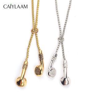 CAIYLAAM Punk Style Headset Anhänger Halskette Männer Schmuck Hip Hop Gold Farbe Halskette Perlen Kette Schmuck Zubehör Für Männer