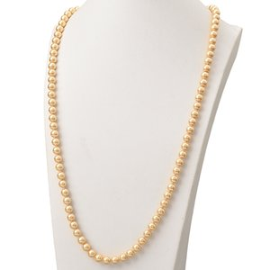 Brilliant 8mm Long Pearl Necklace Round Gold Shell Pearl Imitation Charm Necklace Fashion Style Statement Women Gift 36inch H875