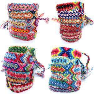 Böhmische Weinlese-Cotton handgewebte Seil-ethnische Art-bunte Baumwolle Freundschaft Armband geknotete Armband / Fußkettchen