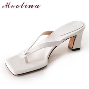 Meotina femmes Chaussons Tongs véritable talon Chaussures en cuir mi bout carré talons épais Slides été causales Sandales Noir 40