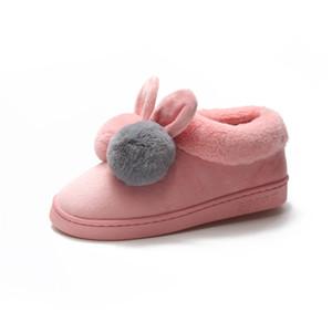 Зимние плюшевые тапочки Женские тапочки на платформе Хлопковые домашние туфли с милыми мультипликационными ушами кролика