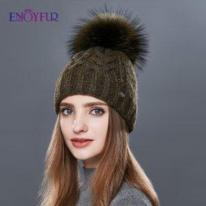 Kalın Sıcak Çift Katmanlı Kadınlar Kış Şapka Moda Kaba Twist-Tipi Örme Şapka Kadın Kürk Ponpon Cap Kaşmir Beanies