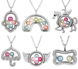 Silber Elefant Kreuz Eule Leben Speicher 8mm Perle Perlen Magnetische Glas Schwimm Medaillon Anhänger Halskette Perle Käfig Medaillon Charms