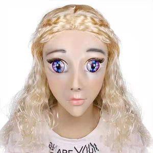 Calidad superior hecho a mano de silicona Sexy y dulce mitad mujer cara Ching Crossdress máscara Crossdresser muñeca cara cabeza máscara disfraces hasta cartón