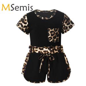 Criança infantil Bebés Meninas leopardo Sports roupas de verão Conjuntos de manga curta T-shirt e calções Treino Sweatsuit Set