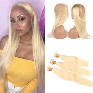 Bleach Blonde Perú Extensiones de cabello humano virginal recta armadura del pelo Bundles con cierre de encaje encaje frontal 360 Pure Blonde 613 360