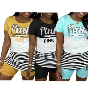 Summer Women Luxury Letter Tracksuit Designer Striped T shirt Tops Biker Shorts Pants Leggings 2 Piece Outfits Plus size Sports Suits E51204