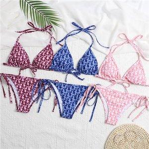 mulheres duas peças roupas Bikini Suit Sexy Flared luva Bikini Tampa Swimsuit das senhoras Impresso Casual Beachwear Swimsuit Dior