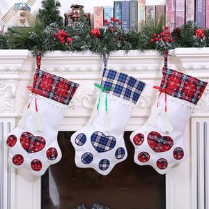 Personality Dog Paw Weihnachtssocken 2 Farben Weihnachtsbaum-Anhänger-Dekor-Karikatur-große Kapazitäts-Süßigkeit-Geschenk-Beutel