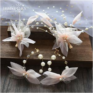 HIMSTORY rosa Garn Blumen-Braut Haarnadel Kopfstück handgemachte Ohrring-BrautTiara Crown Hochzeit Haarschmuck Schmuck